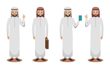 diseño de personajes de negocios árabes 3 Ilustración de vector