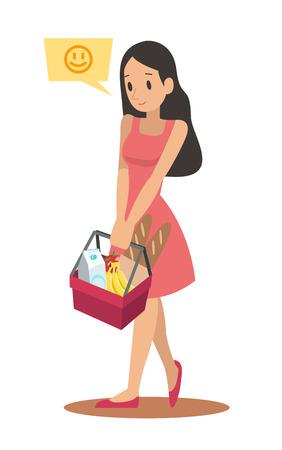 shopping woman character design