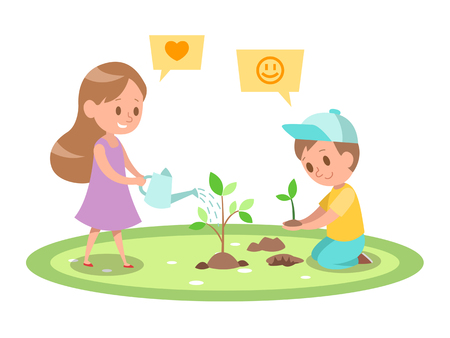 Kids Gardening character design 5 일러스트
