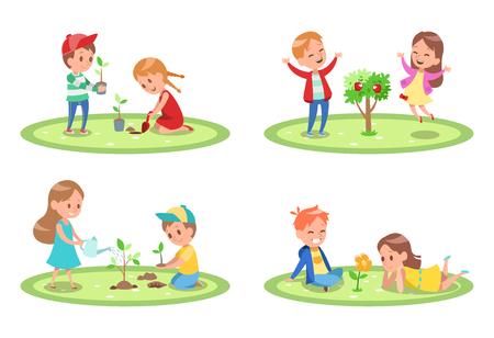 Kids Gardening character design