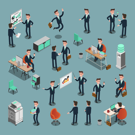 Set of ISOMETRIC BUSINESS PEOPLE in office, share idea, info graphic vector design Иллюстрация