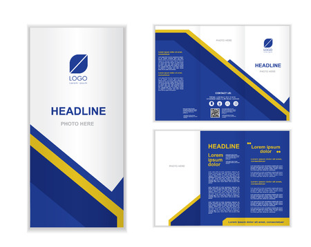 blue Professional business three fold brochure template