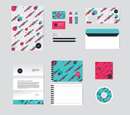 corporate identity template for your business includes CD Cover, Business Card, folder, Envelope and Letter Head Designs No 001 스톡 콘텐츠 - 127260074