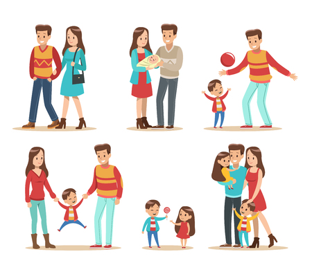 Happy family with father, mother, daughter and son vector design No. 4