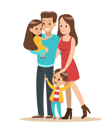 Happy family with father, mother, daughter and son vector design 스톡 콘텐츠 - 127260079