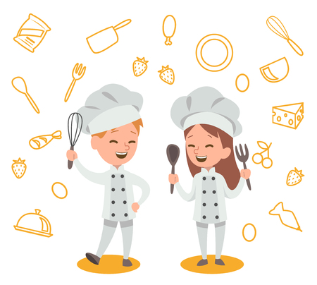 Happy kids is cooking and having fun in the kitchen vector design No.2
