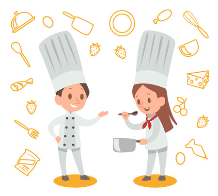 Happy kids is cooking and having fun in the kitchen vector design No.3