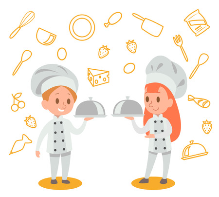 Happy kids is cooking and having fun in the kitchen vector design No.4