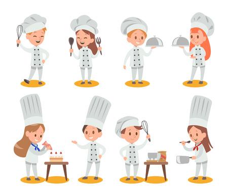Des enfants heureux cuisinent et s'amusent dans la conception de vecteurs de cuisine