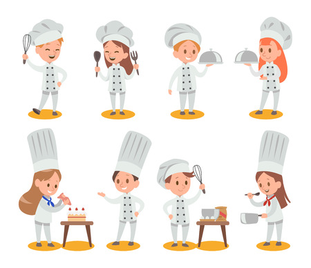 Happy kids is cooking and having fun in the kitchen vector design