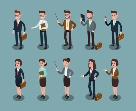 Set of ISOMETRIC BUSINESS PEOPLE in office, share idea, info graphic vector design 3