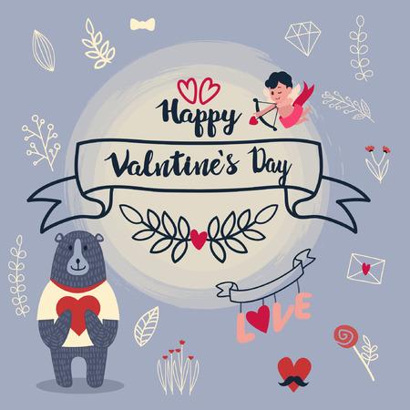 valentine banner template design no10 일러스트