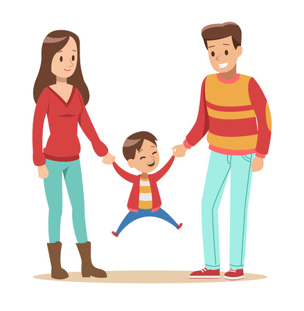 Happy family with father, mother and son vector design 向量圖像