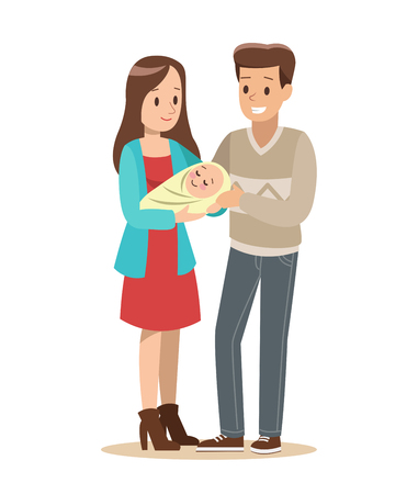 Happy family with father, mother and son vector design no.2 Illustration