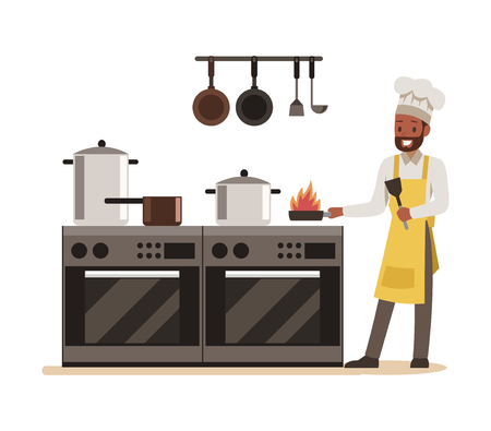 chef cooking in restaurant character design no.10