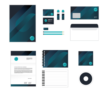 corporate identity template for your business includes CD Cover, Business Card, folder, Envelope and Letter Head Designs No.5 일러스트