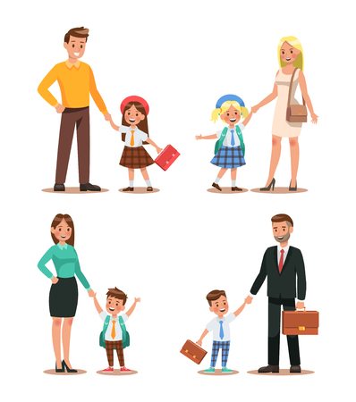 Family lifestyle. Parents take their children to the school in the morning. Happy kids go to school. No.2