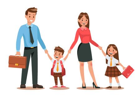 Familienleben. Die Eltern bringen ihre Kinder morgens zur Schule. Glückliche Kinder gehen zur Schule. Nr. 3 Vektorgrafik