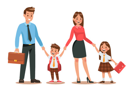 Family lifestyle. Parents take their children to the school in the morning. Happy kids go to school. No.3