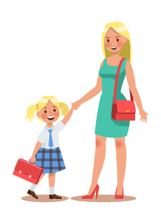 Family lifestyle. Parents take their children to the school in the morning. Happy kids go to school. No.4