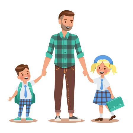 Family lifestyle. Parents take their children to the school in the morning. Happy kids go to school. No.5