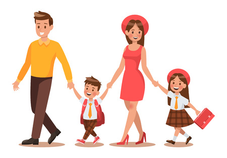 Family lifestyle. Parents take their children to the school in the morning. Happy kids go to school. No.6
