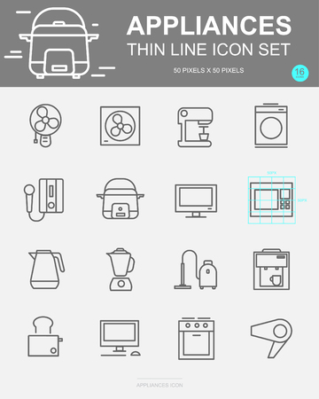 Set of Appliances Vector Line Icons. Includes computer, Water heater, hair dryer, television and more. 50 x 50 Pixel.