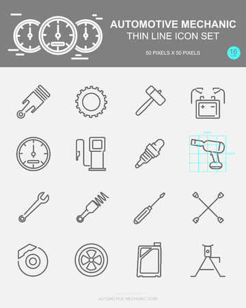 Set of AUTOMOTIVE MECHANIC Vector Line Icons. Includes wheel, oil, gear, battery and more. 50 x 50 Pixel.