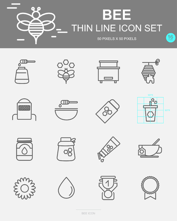 Set of Bee Vector Line Icons. Includes honey, flower, beehive, wax and more. 50 x 50 Pixel. 일러스트