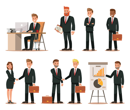 Set of business characters working in office. Vector illustration design No.4 일러스트