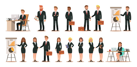 Set of business characters working in office. Vector illustration design No.5 일러스트