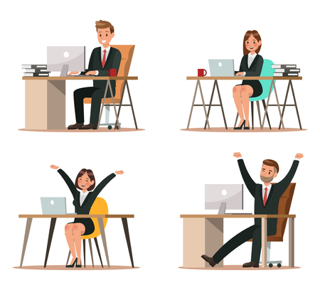 Set of business characters working in office. Vector illustration design 일러스트