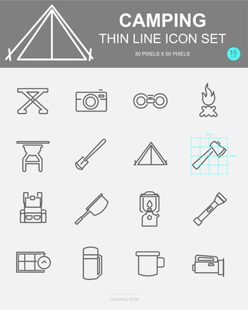 Set of Camping Vector Line Icons. Includes camp, bag, compass, fire and more. 50 x 50 Pixel. 스톡 콘텐츠 - 127213406