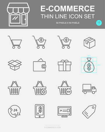 Set of E-commerce Vector Line Icons. Includes online, cart, shipping, promotion and more. 50 x 50 Pixel. 스톡 콘텐츠 - 127213408