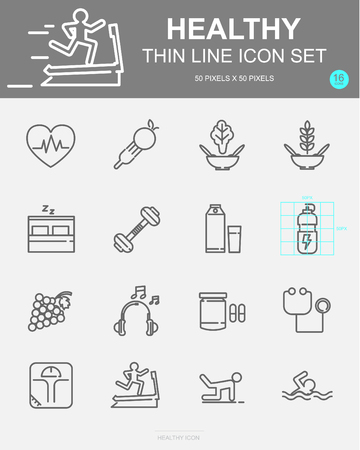 Set of Healthy Vector Line Icons. Includes fitness exercise, jogging, dumbbell and more. 50 x 50 Pixel. 일러스트