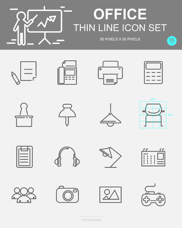Set of Office Vector Line Icons. Includes calendar, pen, lamp, Printer and more. 50 x 50 Pixel.
