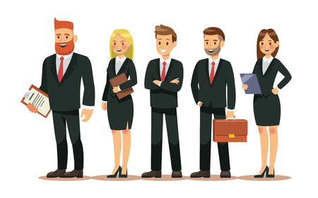 Set of people characters for business. Business people wear Suits hold bag and folder. Vector illustration design. 일러스트