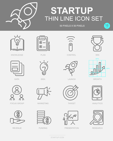 Set of Startup Vector Line Icons. Includes Knowledge, Plan, Control, Data and more. 50x50 Pixel.