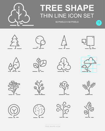 Set of Tree shape Vector Line Icons. Includes leaf, forest, trees, botany and more. 50 x 50 Pixel. 일러스트