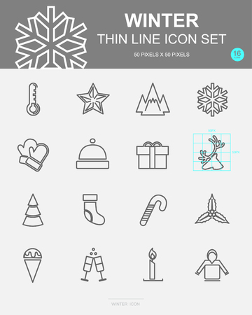 Set of Winter Vector Line Icons. Includes snowflake, gift, champagne, deer and more. 50 x 50 Pixel. 스톡 콘텐츠 - 127213422