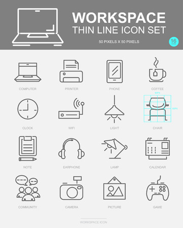 Set of Workspace Vector Line Icons. Includes Computer, Community, Coffee, Printer and more. 50x50 Pixel.
