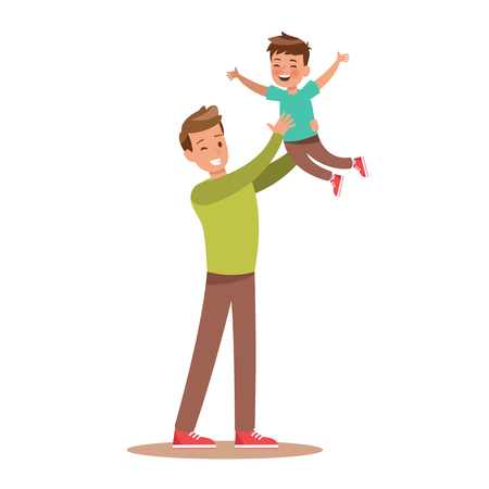 Dad and son playing. character design. 일러스트