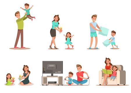 Familienaktivität zu Hause Beinhaltet Spiel spielen, Puppe spielen, ein Buch lesen. Charakter-Design.