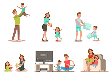 Gezinsactiviteit in huis Omvat spel spelen, pop spelen, een boek lezen. Personage ontwerp.