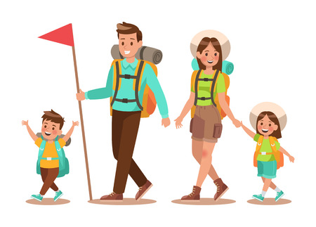 Family lifestyle. Family travel time. Happy family go to Camping. Vector illustration design. no2 일러스트