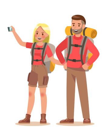 Family lifestyle. Family travel time. Happy family go to Camping. Vector illustration design. no6
