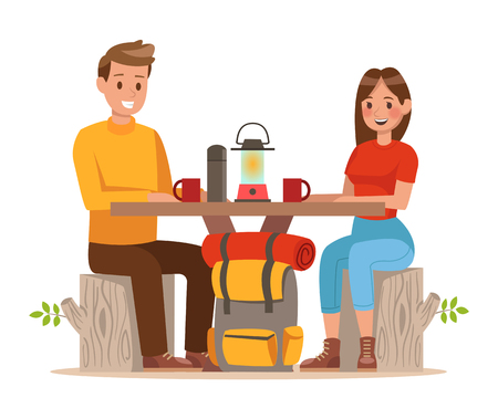 Family lifestyle. Family travel time. Happy family go to Camping. Vector illustration design. no7 Illustration