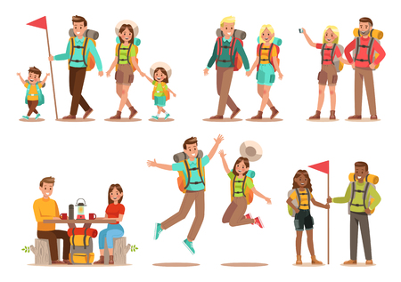 Family lifestyle. Family travel time. Happy family go to Camping. Vector illustration design. 일러스트