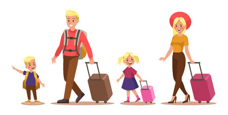 Family lifestyle. Family travel time. Happy family go to travel. Vector illustration design. No2 일러스트