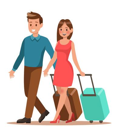 Mode de vie familial. Temps de trajet en famille. Une famille heureuse part en voyage. Conception d'illustration vectorielle. N ° 3